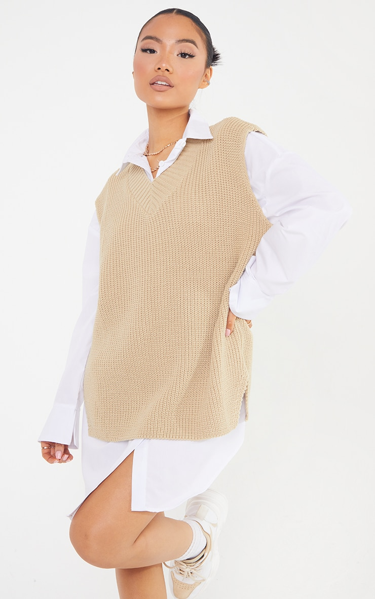 Petite Oatmeal V Neck Knitted Side Split Vest  3
