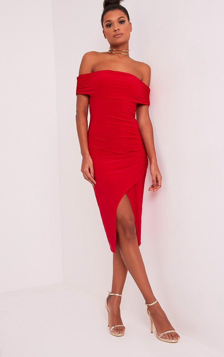 Briany Red Slinky Bardot Midi Dress 1