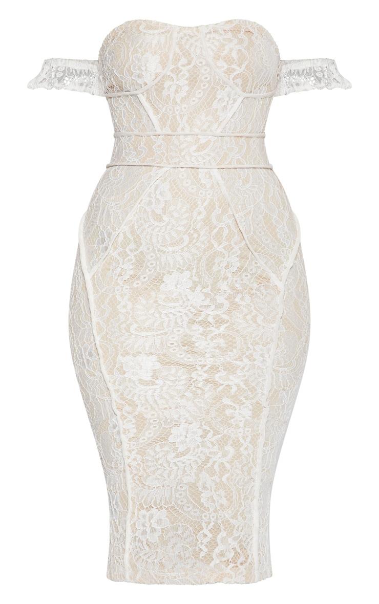 White Lace Binding Detail Bardot Midi Dress 3