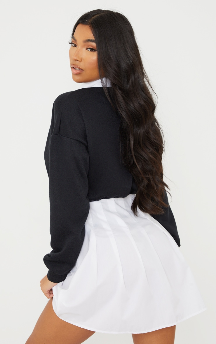 Black Sweat Contrast Poplin Skater Skirt Jumper Dress 2