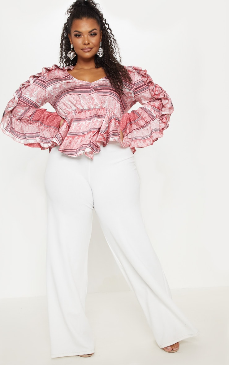 Plus Pink Paisley Print Frill Sleeve Blouse  4