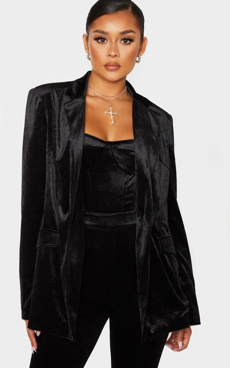 Black Longline Velvet Blazer 1