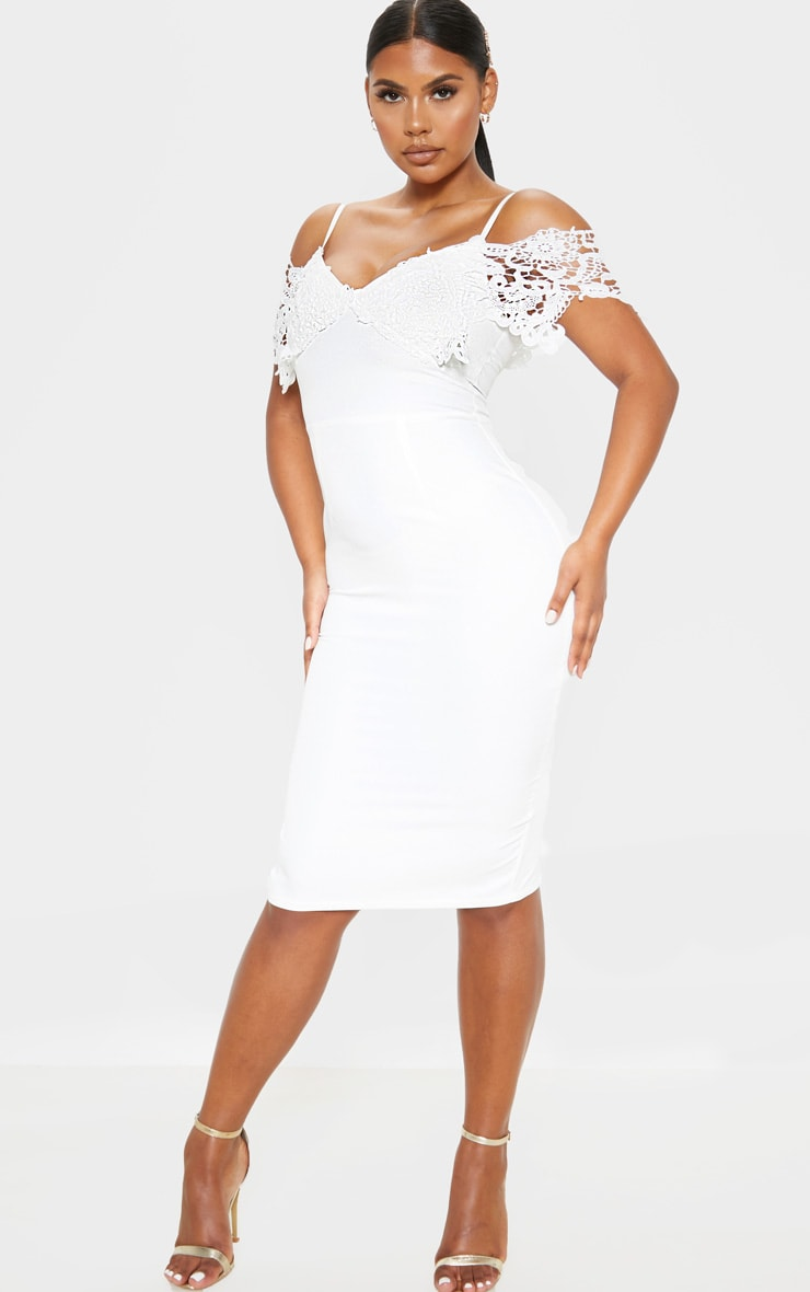 White Lace Cami Cold Shoulder Bodycon Midi Dress 1