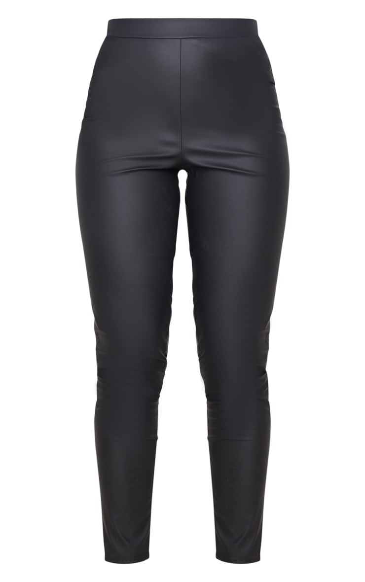 Black Matte Faux Leather Leggings 6