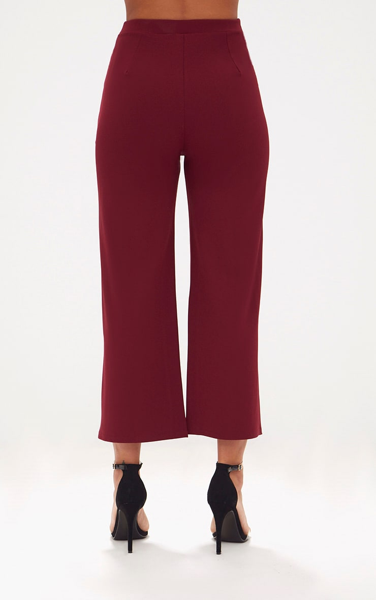 Deep Berry Cropped Wideleg Trousers 4