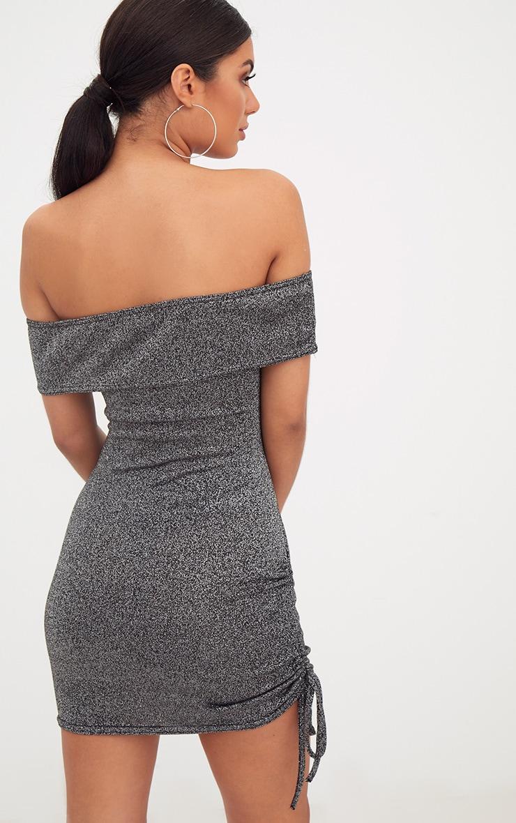 Silver Glitter Ruched Side Bardot Bodycon Dress 2
