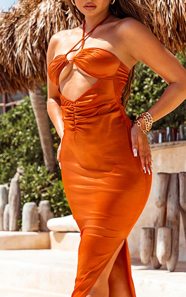 Orange Metallic Midaxi Cut Out Slip Beach Dress 4
