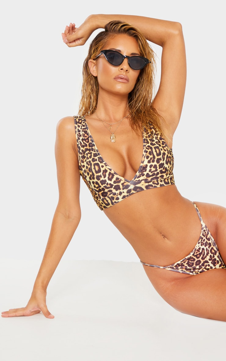 Leopard Mix & Match Plunge Bikini Top 1