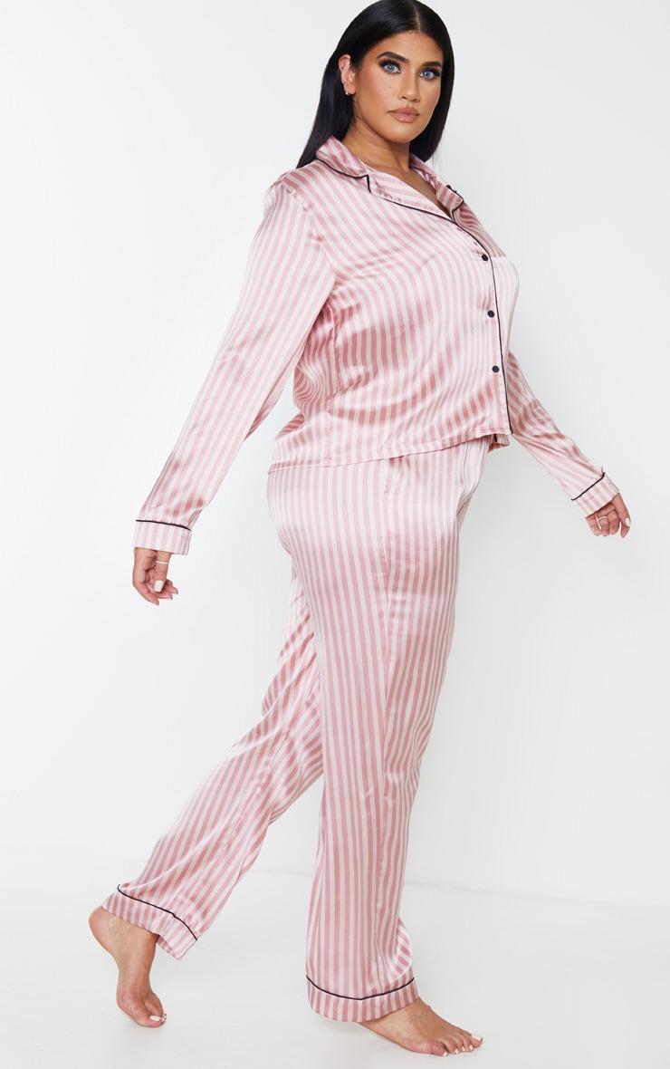 Plus Baby Pink Long Striped Satin PJ Set 4