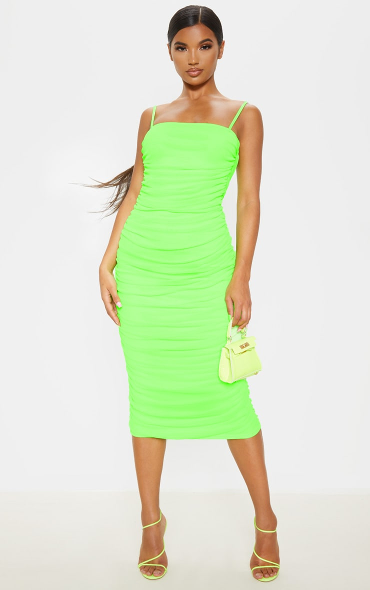 Neon Lime Strappy Mesh Ruched Midaxi Dress 1