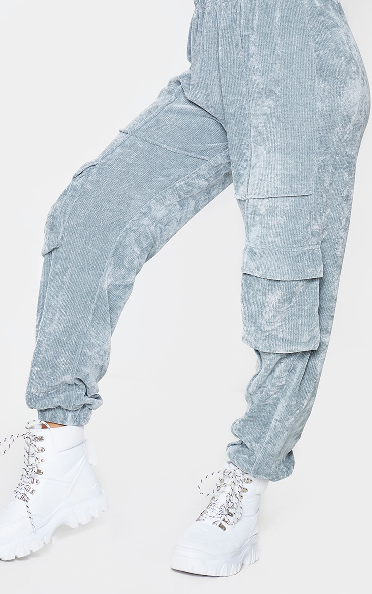 Light Grey Textured Velour Seam Detail Joggers 4