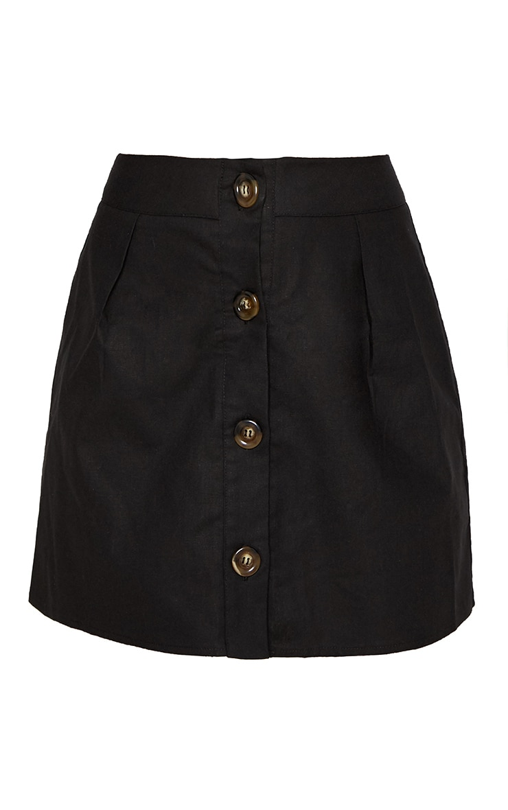 Black Cotton Button Detail Mini Skirt 3