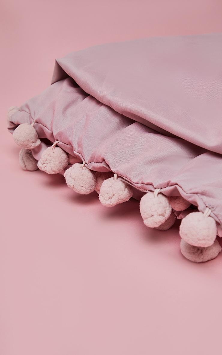 Blush Pom Pom Single Duvet Set 2