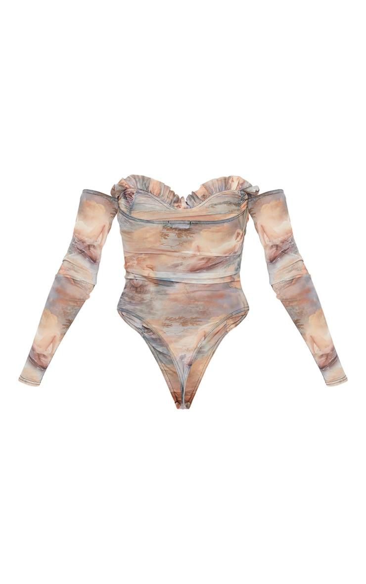 Multi Water Renaissance Printed Mesh Ruched Bardot Bodysuit 4