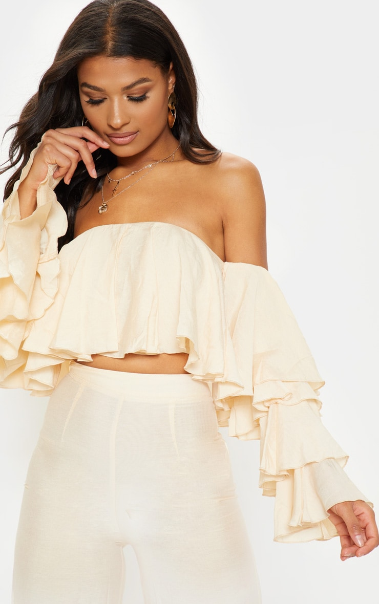 Cream Woven Bardot Tiered Sleeve Crop Top 1