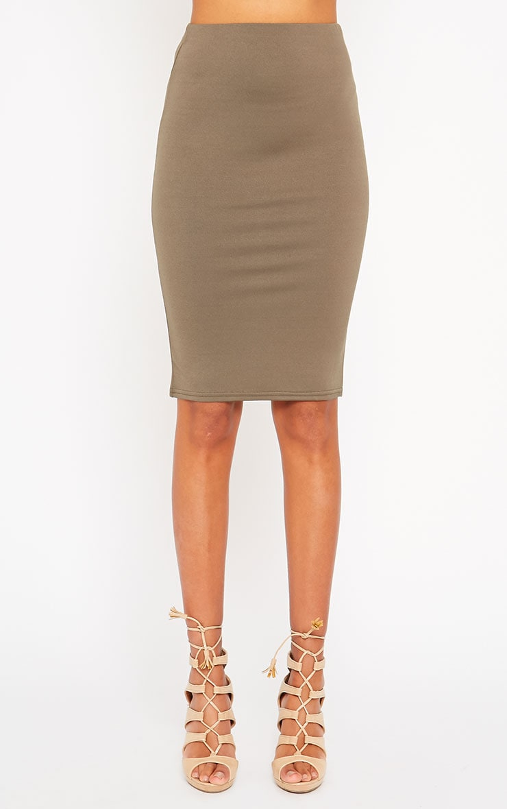 Klarisa Khaki Midi Skirt 2