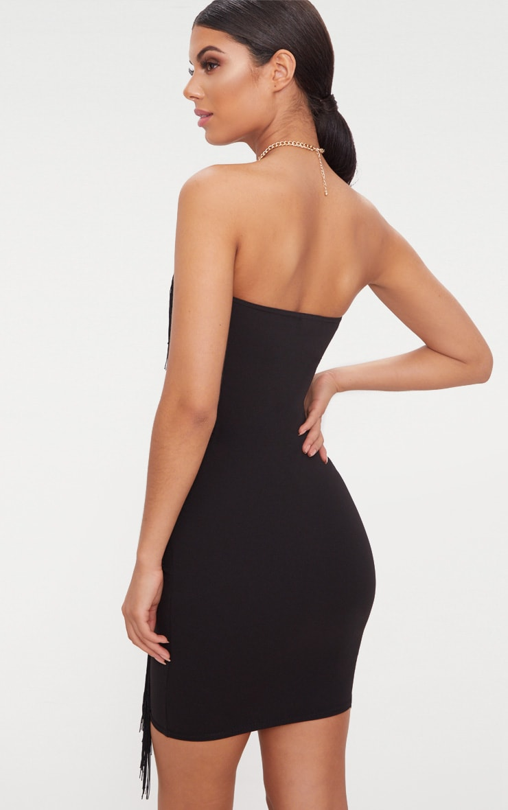Black Bandeau Tassel Detail Bodycon Midi Dress 2