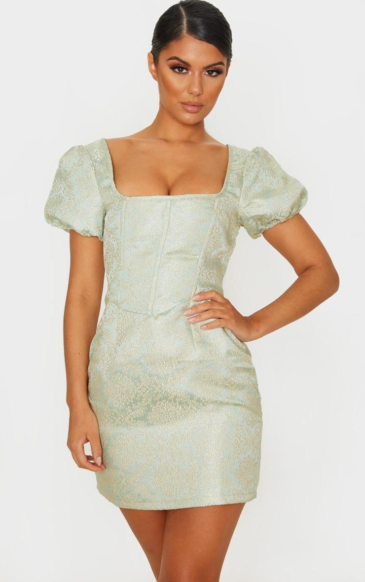 Mint Jacquard Short Sleeve Square Neck Bodycon Dress 1