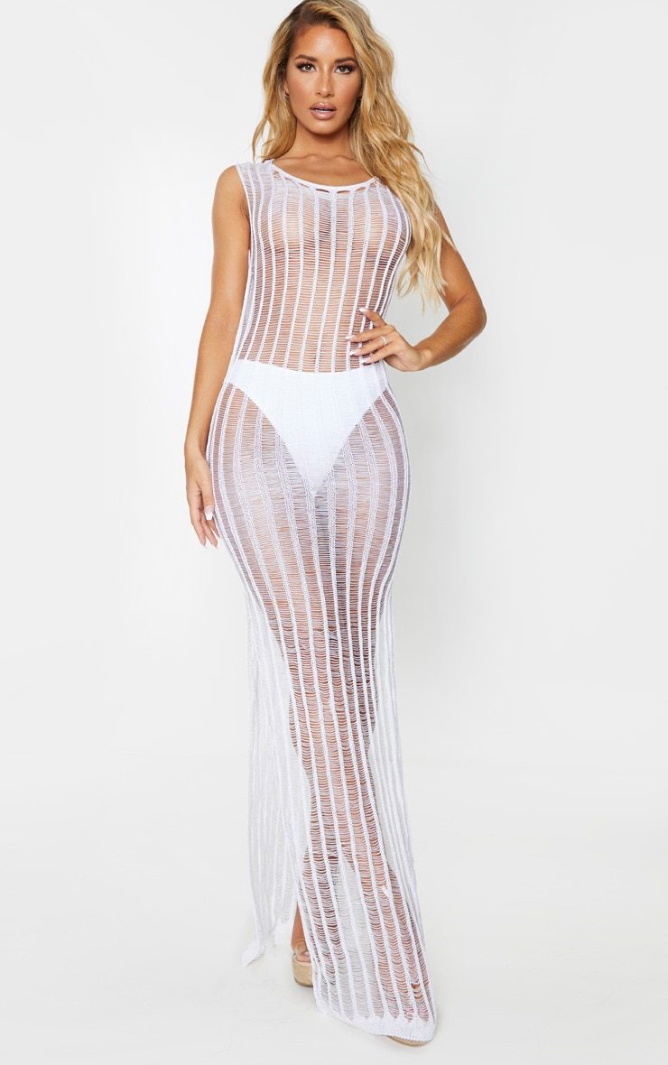 White Metallic Detail Open Back Maxi Dress 2