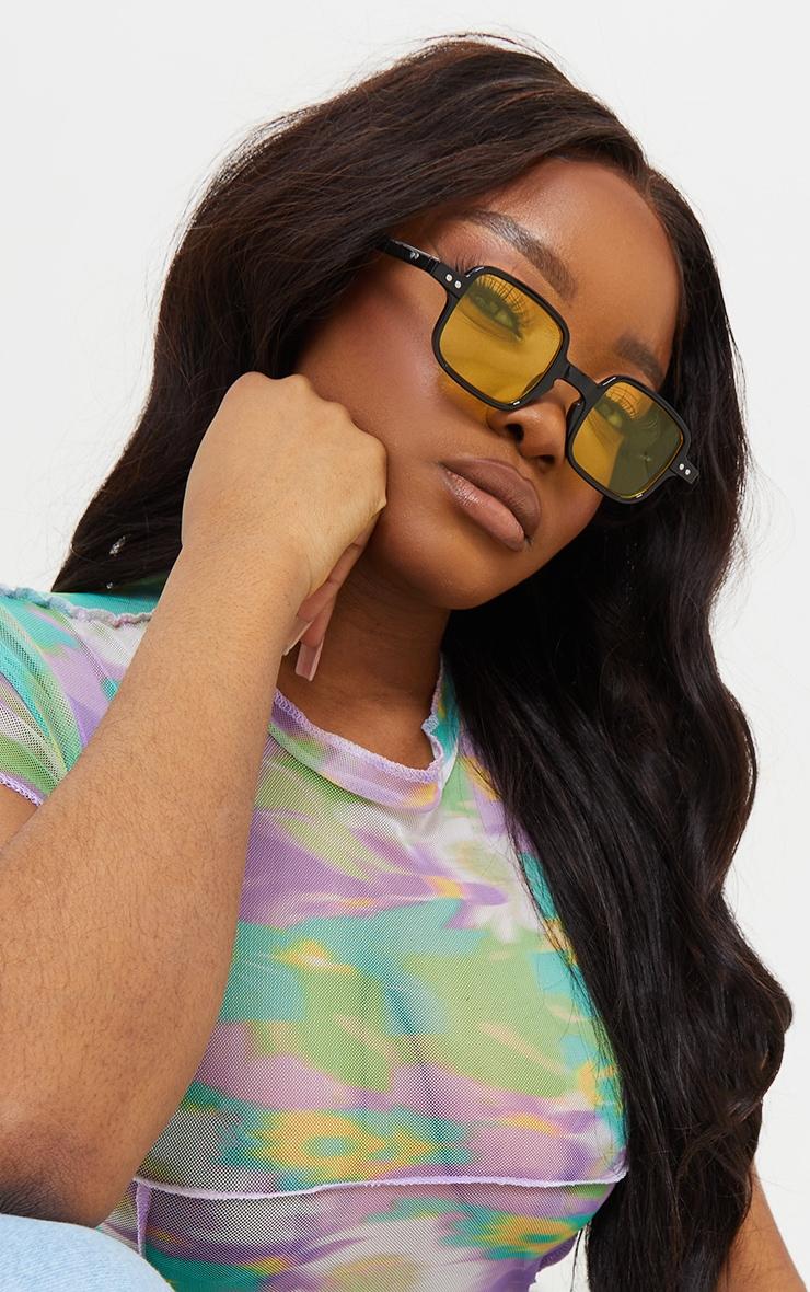 Black Mini Square Yellow Lens Sunglasses 1