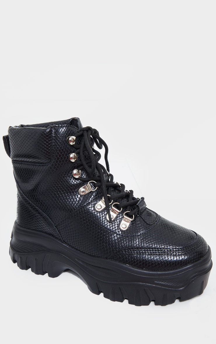 Black Wide Fit Flatform Chunky Hiker Boots 3