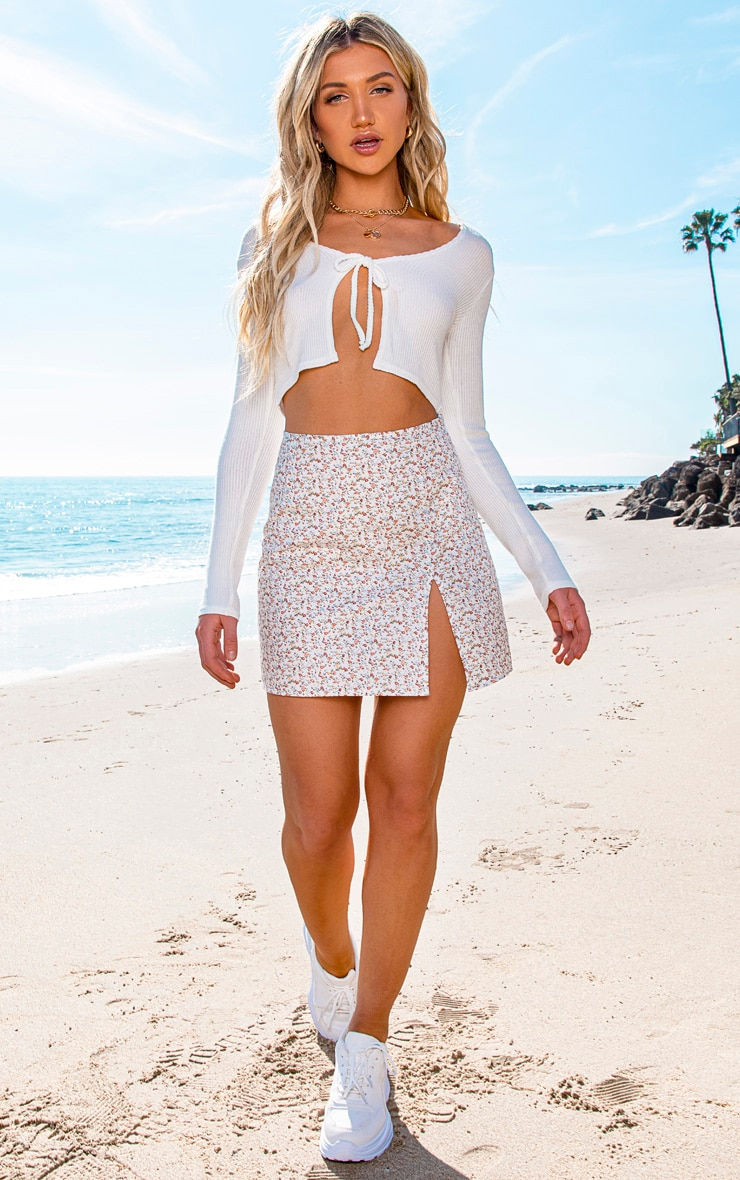 White Tie Front Ribbed Crop Top 3