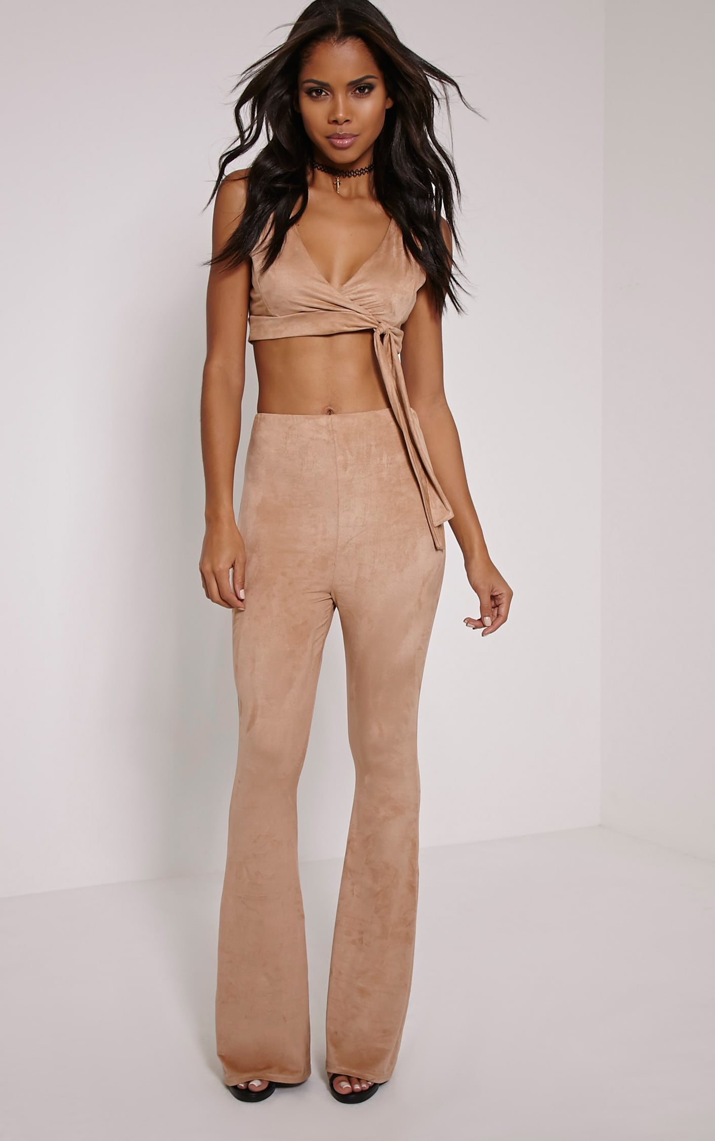 Sloan Dark Tan Faux Suede Flared Trousers 1