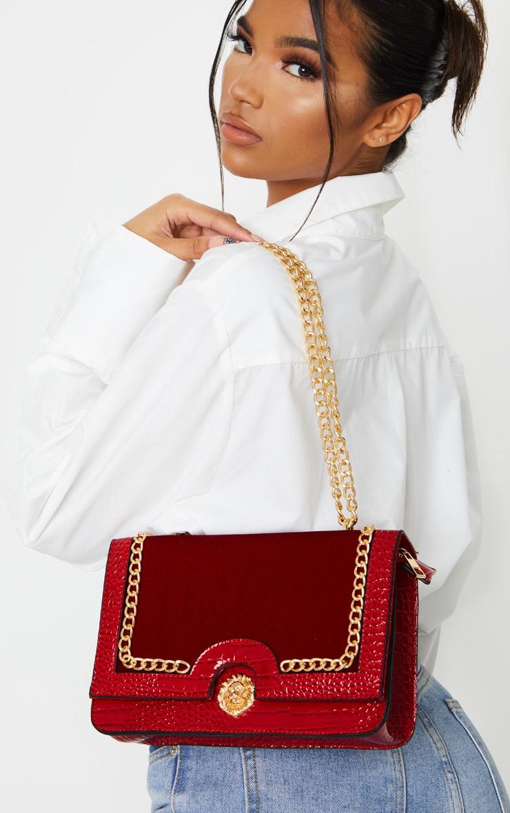 Scarlet Patent And Velvet Contrast Lion Head Cross Body Bag 1