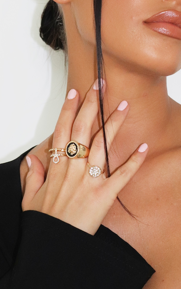 Gold Assorted Diamante Rings 2