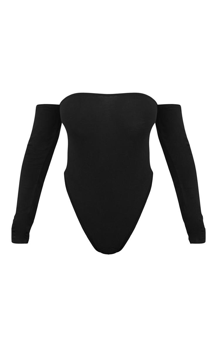 Black Bardot High Leg Longsleeve Thong Bodysuit 3