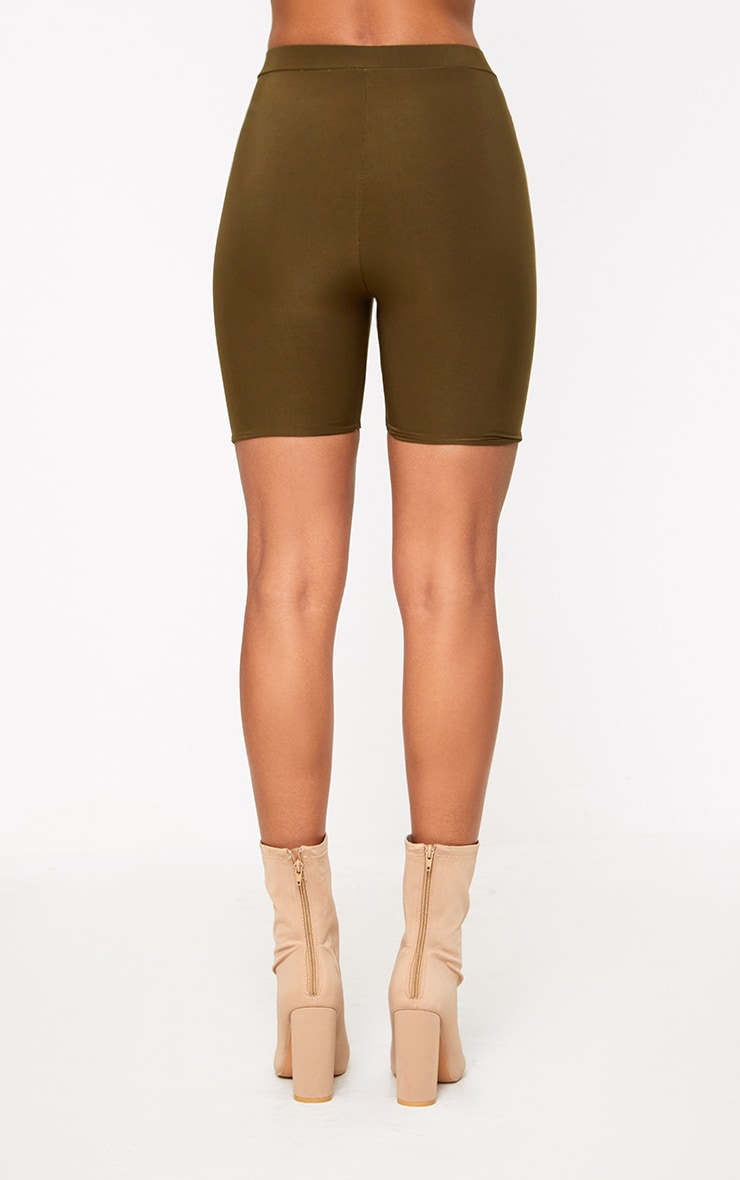 Bella Khaki Slinky High Waisted Cycle Shorts 2