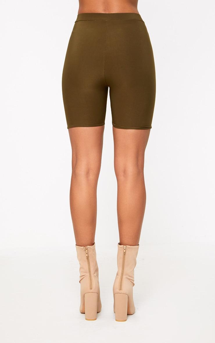 Short-legging kaki taille haute 2