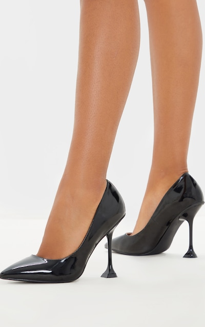 Black Cake Stand Heel Court Shoe
