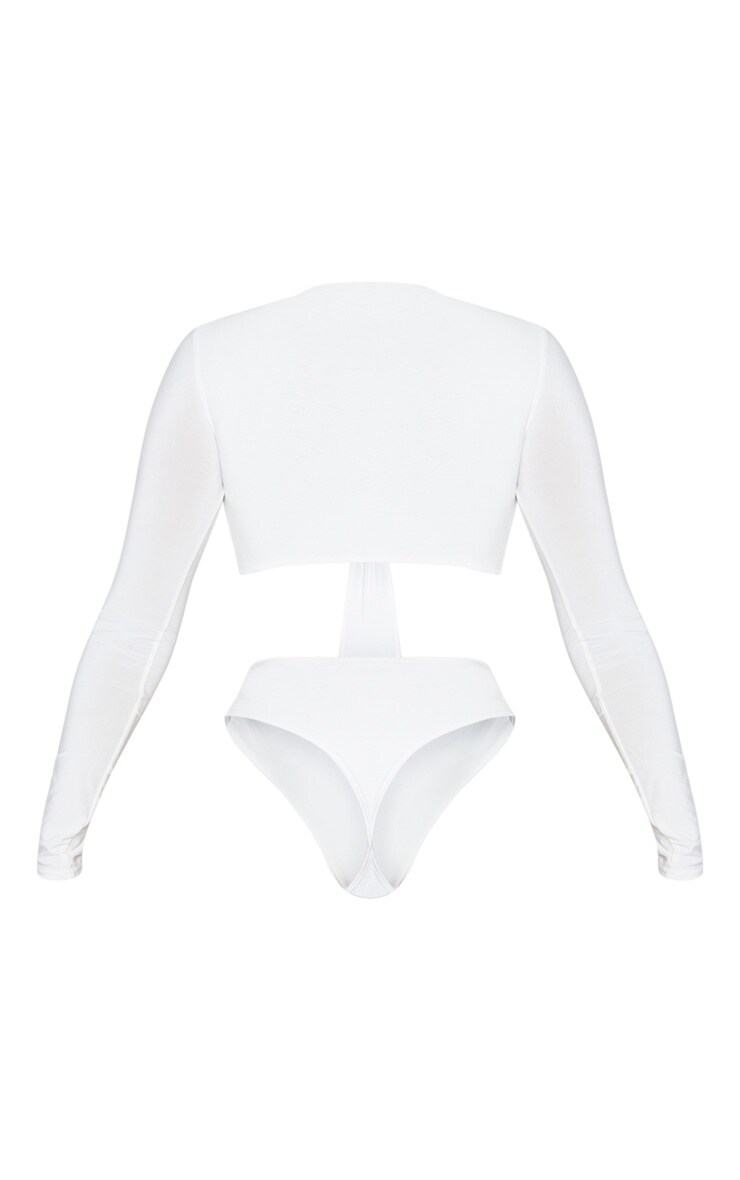 Cream Slinky Plunge O Ring Cut Out Detail Bodysuit 6