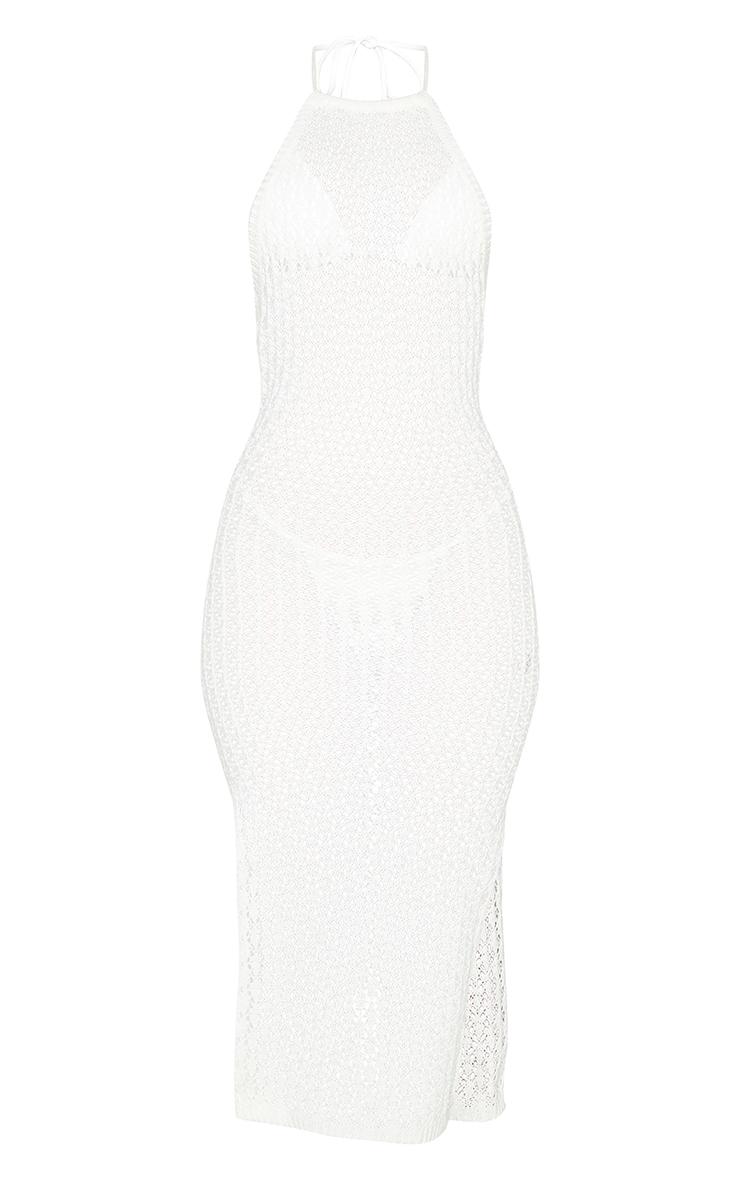 Cream Halterneck Crochet Side Split Midi Dress 5
