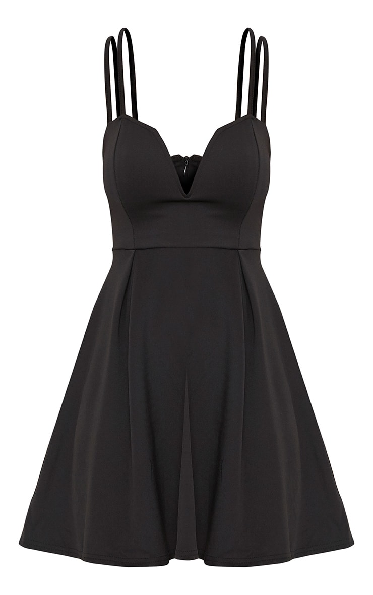 Black V Plunge Double Strap Skater Dress 3