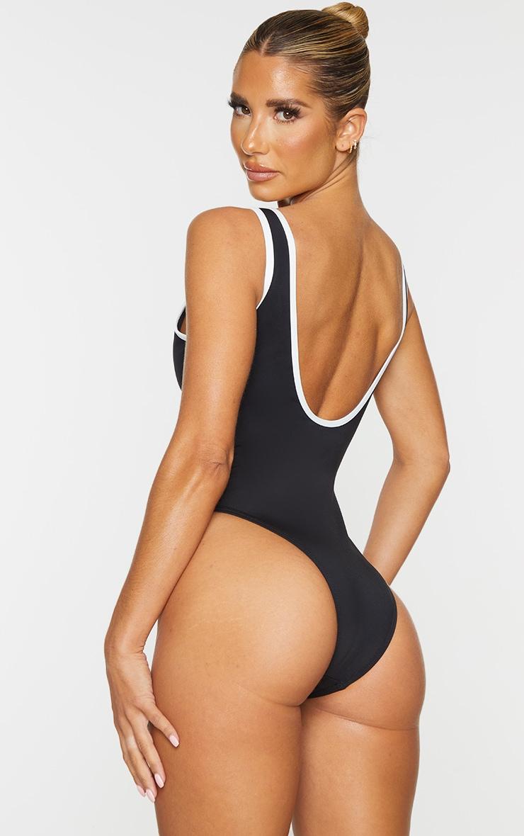 Black Contrast Zip Front Scuba Swimsuit 2