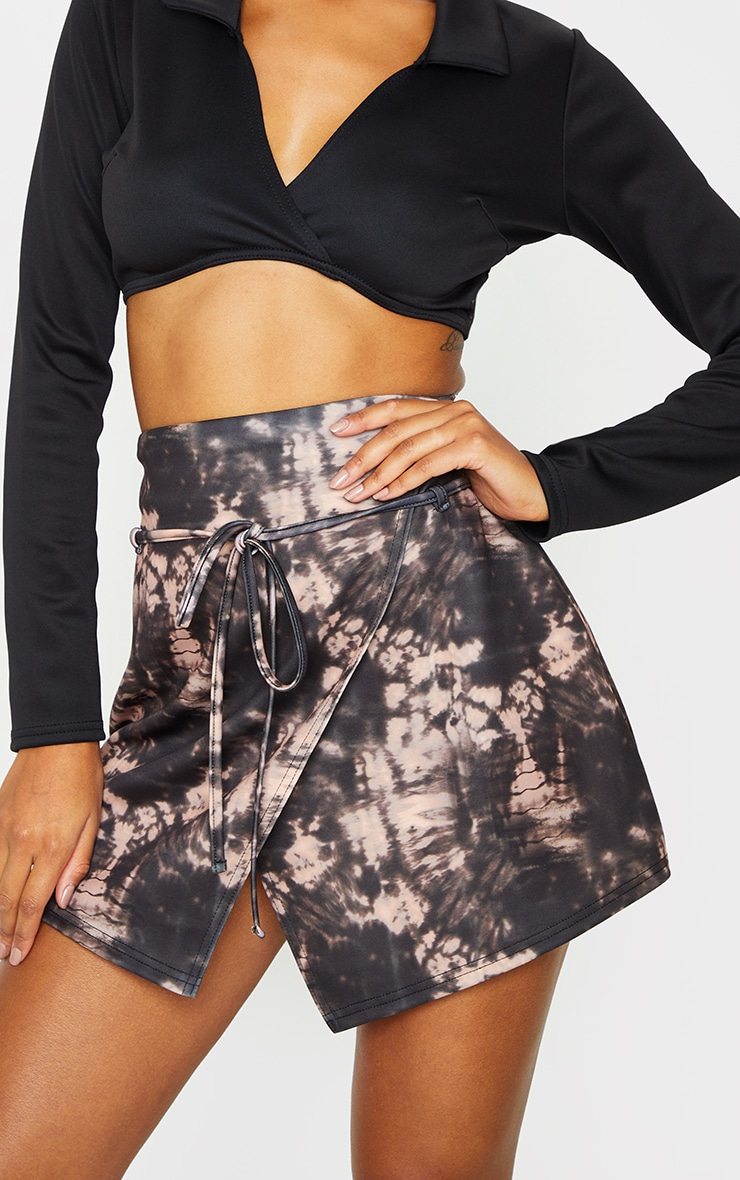 Black Tie Dye Printed Scuba Wrap Mini Skirt 5