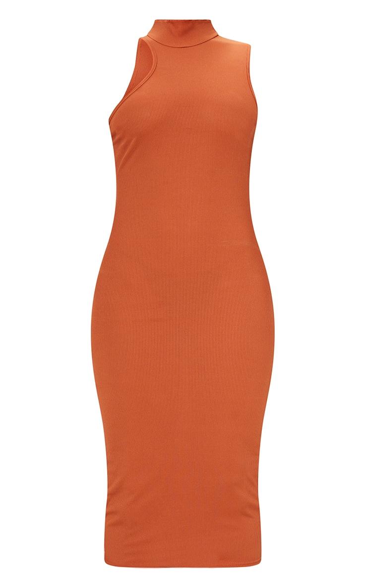 Rust Ribbed High Asymmetric Neck Sleeveless Midi Dress 5