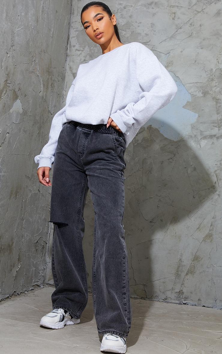 Washed Black Split Knee Wide Leg Jogger Jeans 1