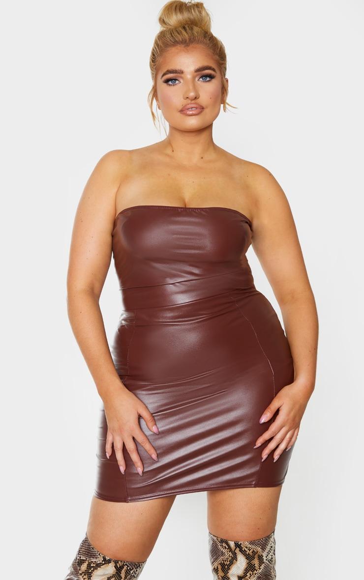 Plus Chocolate Brown PU Seam Detail Bandeau Bodycon Dress 1