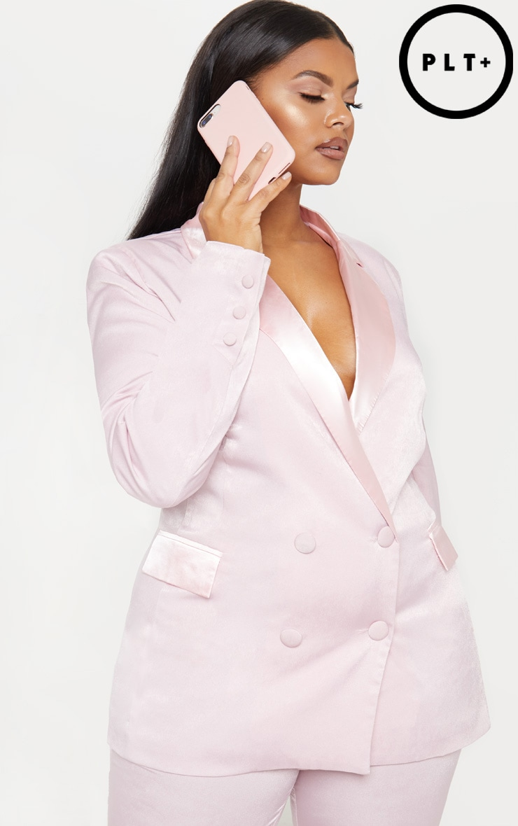 Plus Light Pink Longline Satin Mix Blazer