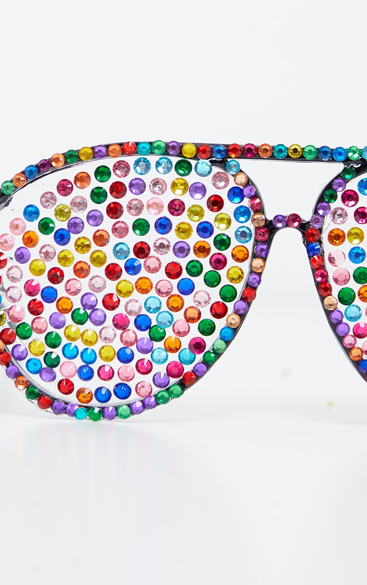 Multi Gemstone Covered Aviator Glasses 3