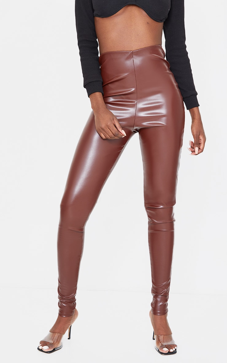 Tall Chocolate Basic Faux Leather High Waist Leggings 2