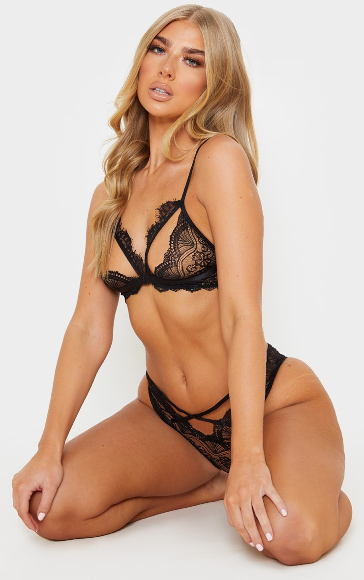 Black Floral Lace Cut Out Bra And Knicker Set 5