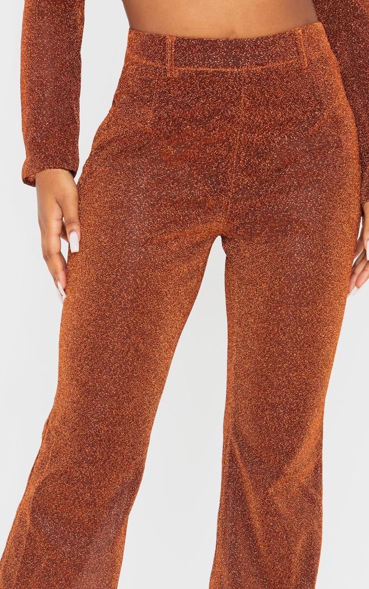 Rust Glitter Sheer Flared Leg Pants  5