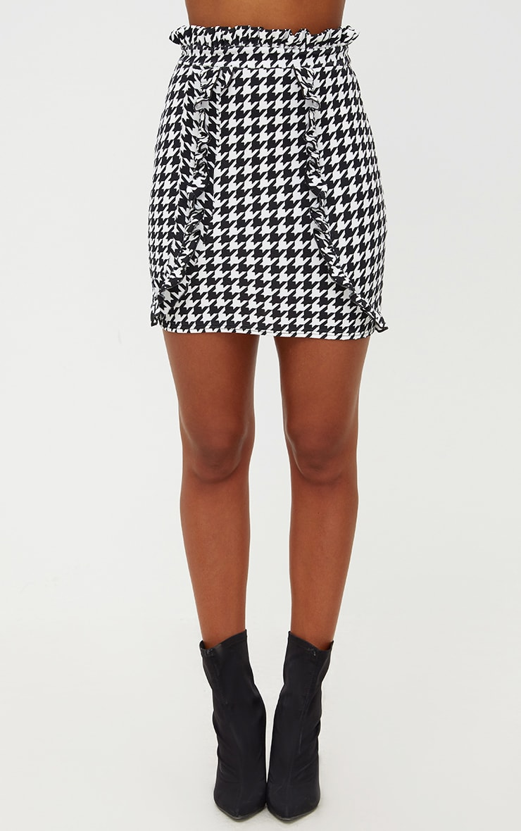 Black Dogtooth Paperbag Frill Mini Skirt 2