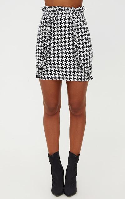 Black Dogtooth Paperbag Frill Mini Skirt