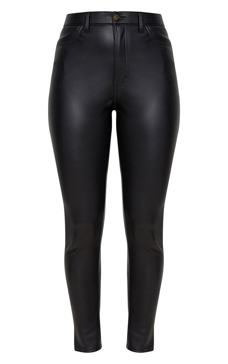 Jean skinny noir imitation cuir à bouton noir 3