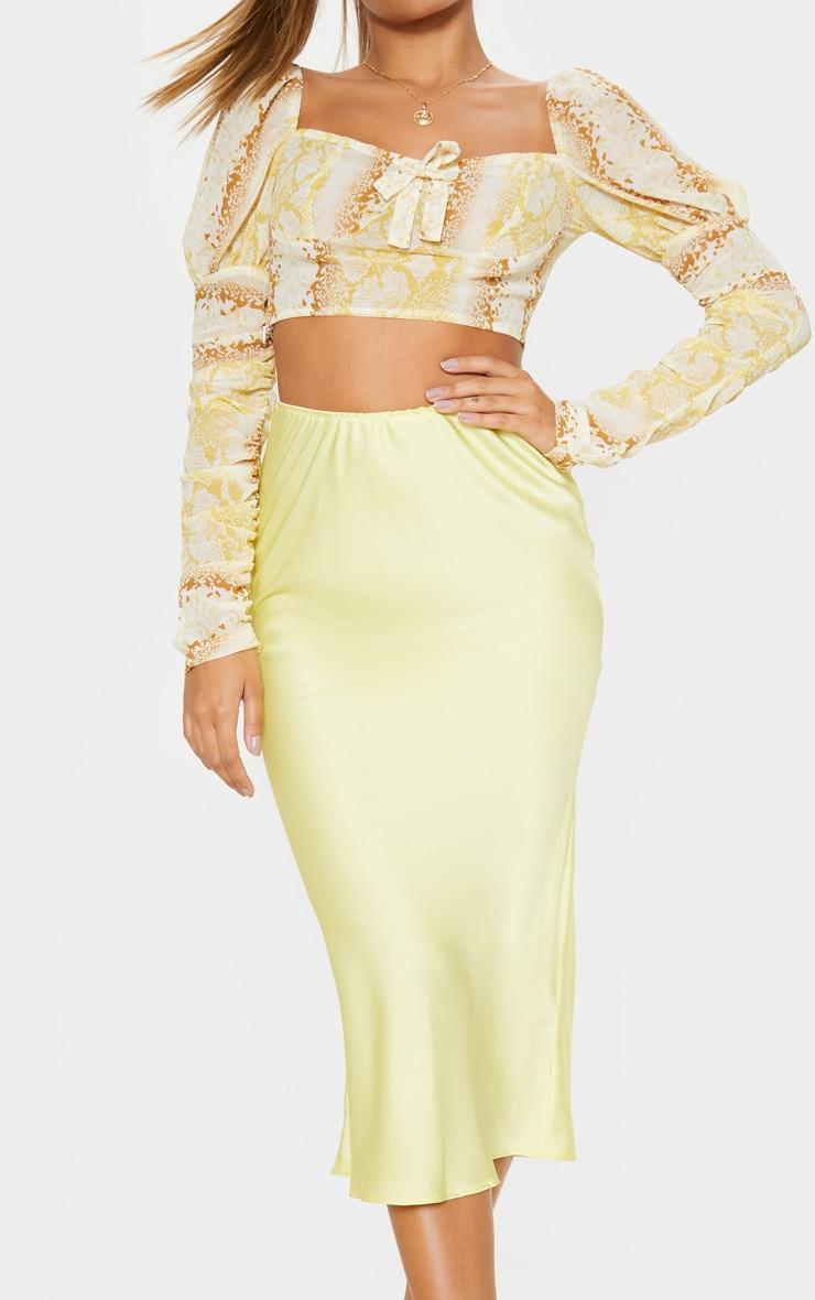 Pale Yellow Satin Midi Skirt  5